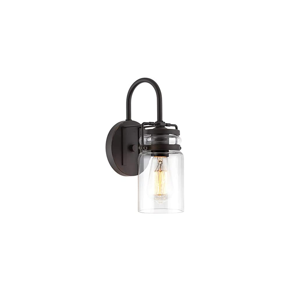 """Kira Home Wyer 11.5"""" Farmhouse Industrial Wall Sconce + Clear Glass Jar Shade, Dimmable, Bronze Finish"""