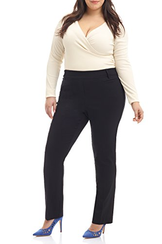 Rekucci Curvy Woman Ease into Comfort Plus Size Straight Pant w/Tummy Control (16W,Black)