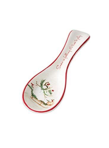 Holiday Ceramic Spoon Rest (Snowman Family) (Rest Spoon Holiday)