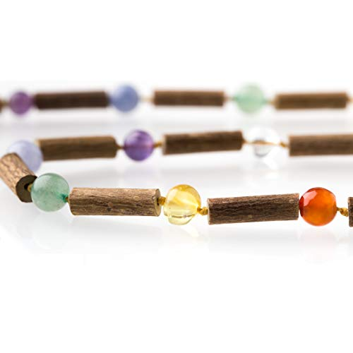 Seven Elements 13 Inch Necklace with Baltic Amber, Gemstones and Hazelwood by Seven Whales