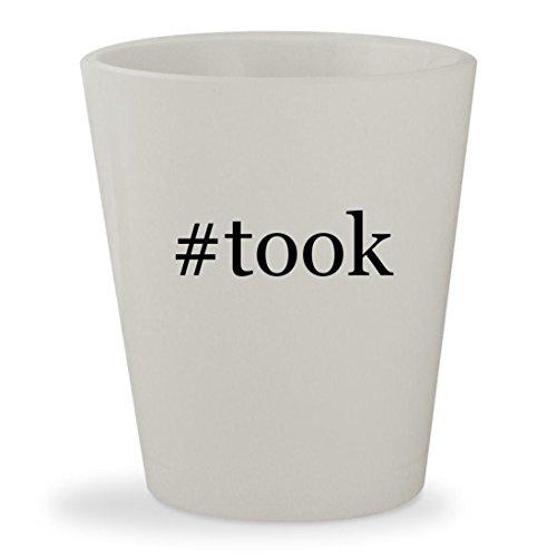 #took - White Hashtag Ceramic 1.5oz Shot Glass
