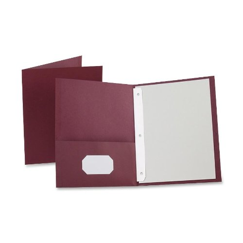 Oxford Twin Pocket Folders with Fasteners, Letter Size, Burgundy, 25 per Box (57757)