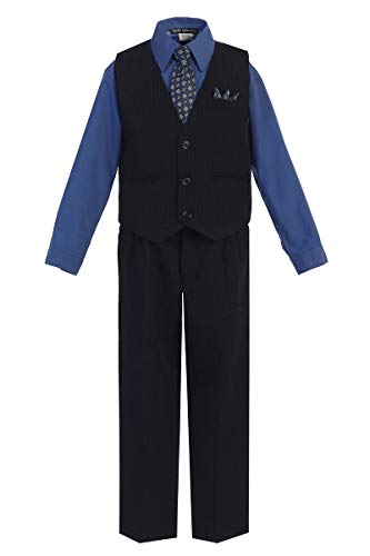 iGirlDress Baby Boys' and Special Occasion Pinstripe Vest Set Black/Royal Blue 12-18Mos (Blue Royal Stripe Dress And Black)