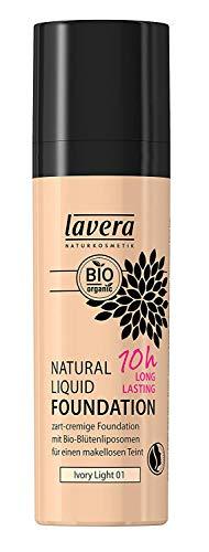 Lavera Natural Liquid Foundation Makeup - 10Hour Long Lasting Coverage, For Fairest Skin Tones (Ivory Light) 30ml/1oz