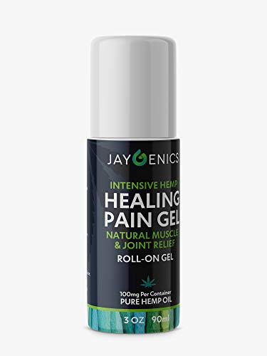 Jaygenics Hemp Oil Healing Pain Roll On, 3 Ounces of Pure Organic Hemp Extract with 10% Emu Oil, Pain Relief Rub for Back, Knees, Hands, Joints, Neck & Muscle Soreness, Anti-inflammatory
