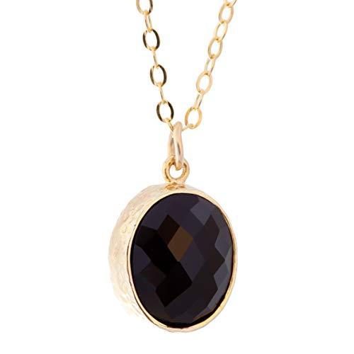 Black Onyx Pendant Framed Glass Onyx 14k Gold Filled Necklace ()