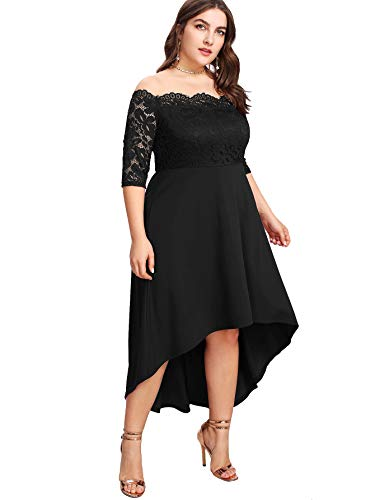Floerns Women's Plus Size Vintage Lace Dip High Low Cocktail Party Dress Black 1XL
