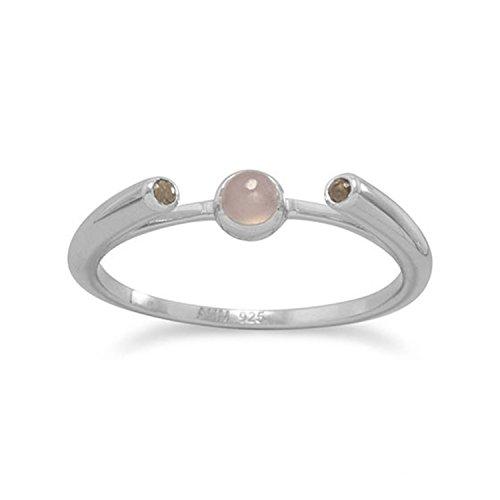 Peach Moonstone Ring (Peach Moonstone and Smoky Quartz Ring Rhodium on Sterling Silver, 6)