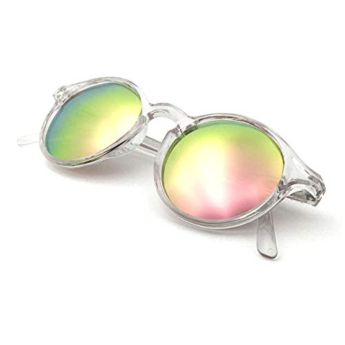 J+S Hali Retro Round Cat Eyes Sunglasses, Polarized, 100% UV protection, Spring Hinged (Crystal Frame/Pink Mirror Lens)