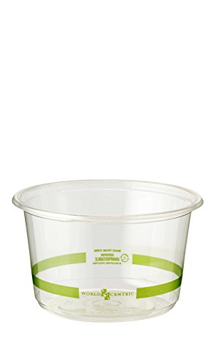World Centric Compostable Corn Deli-Round Container, 16-Ounce Clear, 1000 ct by World Centric
