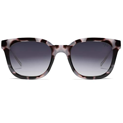 Cuadrado Polarizado Gafas Unisex Gris Sol Retro De Hombre SJ2050 Polarizado C3 Negro Marco Mujer Lente SOJOS Clásico Carey 8nTCgxqgw
