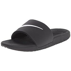 NIKE Kids' Kawa Slide Sandal, Black/White, 12 M US Little Kid