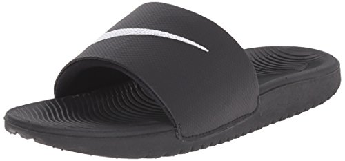 NIKE Kids' Kawa Slide Sandal, Black/White, 6 M US Big Kid