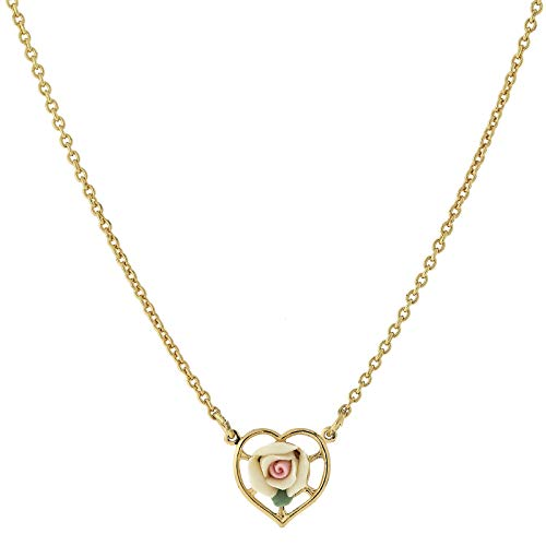 1928 Jewelry 14K Gold-Dipped Ivory Color Porcelain Rose Heart Necklace 16 Adj.