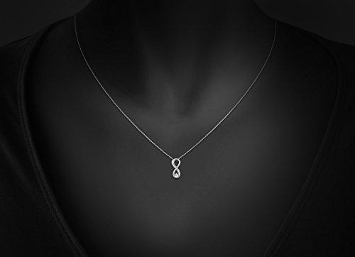 0.07Ct Diamant reel Or blanc Pendentif Collier En forme d'infini Pour Femmes et filles