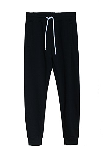 Midweight Sweatpants (ROOLOLY Men's Basic Casual Jogger Fleece Sweatpants With Pocket(Black,M))