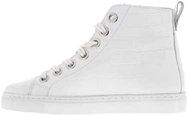 Tango | Moniek 19-b White Croco Leather Sneaker Double Laces - White Sole | Maat: 36