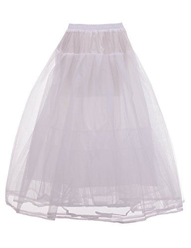 Remedios Hoopless A Line Petticoat Bridal Gown Crinoline Underskirt4Layer S-MS-M(US2-16W) (Plus Size White Tulle Petticoat)