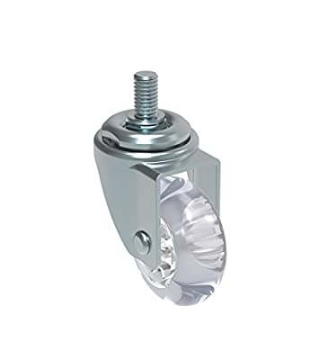 "Schioppa L10 Series, GLEED 210 GEL Clear, Swivel Caster, 2"" (50 mm) Non-Marking Polyurethane Whl, 90 lbs, 3/8"" Diameter x 1"" Length Threaded Stem"