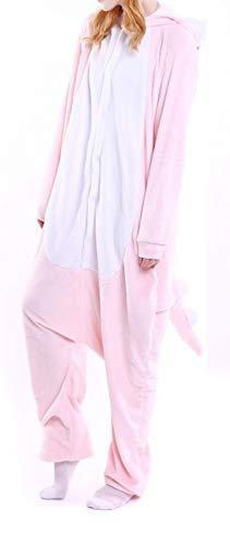 LALIFIT Animal Pajamas Sleepwear Winter Onesies Cosplay Costume Halloween Hooded Jumpsuit(Pink Dinosaur,M)