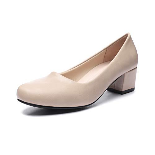 GUCHENG Chunky Heels Pumps Low Shoes Women's - Dress Ladies Heel Comfortable - Formal Width Black Brown White Wedding Shoes (10 M US, Nude)