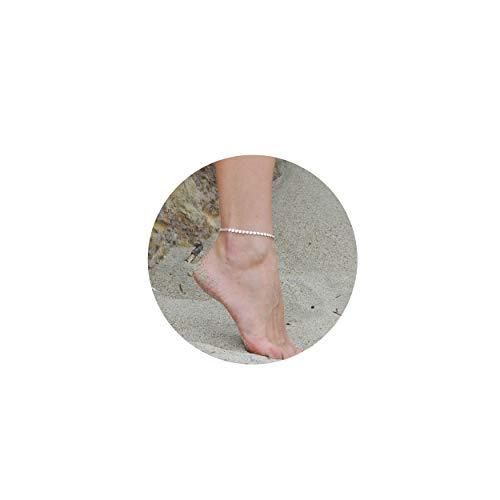 Fettero Women Handmade Dainty Silver Coin Anklet Boho Beach Foot Chain Adjustable Disc Ankle Bracelet