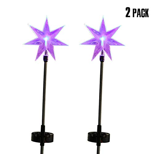 Fashionlite Solar Powered Stake Lawn LED Light Seven Point Star Color Changing LEDs Outdoor Decoration 2 (Stars Solar Light)