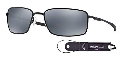 (Oakley Square Wire OO4075 407505 60M Matte Black/Black Iridium Polarized Sunglasses For Men+BUNDLE with Oakley Accessory Leash)