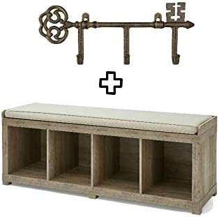 Better Homes and Gardens 4-Cube Storage Organizer Bench Bundle, Rustic Gray