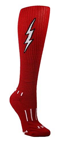 (MOXY Socks Women's Red with Black Knee-High Insane Bolt Soccer Socks)