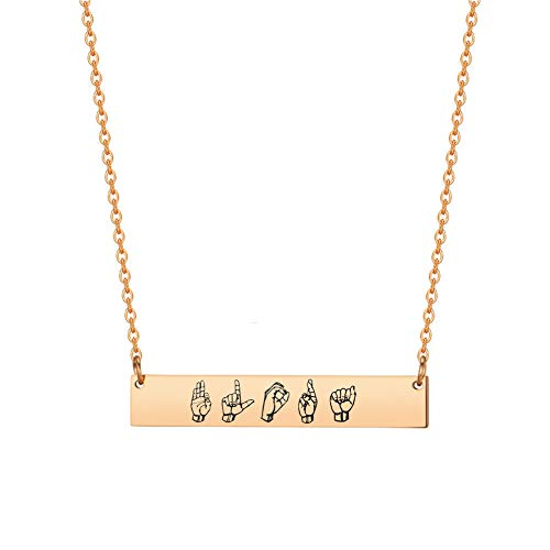 Personalized ASL Name Bar Necklace Custom Sign Language Deaf Jewelry Interpreter Gift