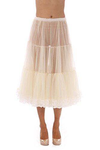 Malco Modes Tea-Length Chiffon Crinoline Petticoat Underskirt Full Slip w/ Lace, X-Small, Ivory