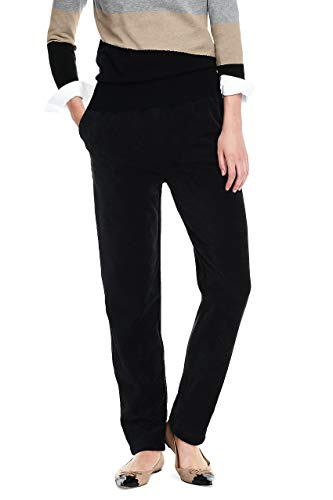 Lands' End Women's Tall Sport Knit Elastic Waist Pants High Rise, L, Deep Black