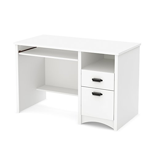 South Shore Traditional Hutch - South Shore 7360070 Computer Desk with 2 Drawers and Keyboard Tray, White, Pure