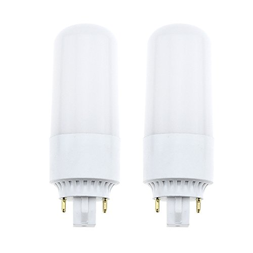 LuxVista 8W Gx24/Gx24q 4-pin Base LED Bulb 6000K Daylight Light Bulb 18W CFL/Compact Fluorescent Replacement PL-C Horizontal Recessed AC 85-265V 360°Beam Angle, 2-pack (Remove or Bypass Ballast)