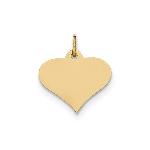 14k Yellow Gold .013 Gauge Engraveable Heart Disc Pendant Charm Necklace Engravable Shapely Love Fine Jewelry Gifts For Women For Her
