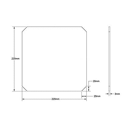 Cama de vidrio de borosilicato de 220 x 220 x 3 mm con bordes ...