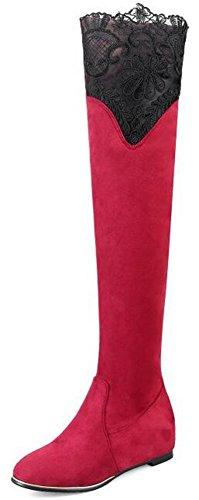 Idifu Womens Dressy Lace Spliced sopra Stivali Alti Al Ginocchio Mid Zeppa Allinterno Stivaletti Satinati Rosso