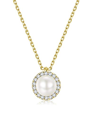 Sllaiss 18K Gold Plated Swarovski Created Pearl Necklace for Women Fashion Crystal Pendant Necklace, Crystals from Swarovski, Luxury Jewelry Gift for - Plated Crystal 18k Gold
