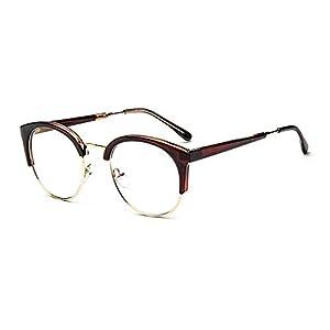 MOQQE Eyeglasses Glasses Frame Eyewear Fashion Cateye Round For Men and Women(C3)