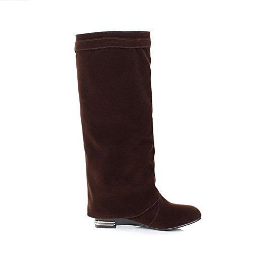 on Brown High Women's Heels top Boots Low Pull AgooLar Closed Dull Round Toe Polish WBaxTn4