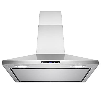 """AKDY 36"""" Stainless Steel Wall Mount Cooking Fan Vent Touch Control Display Range Hood Noise Reduce Design"""