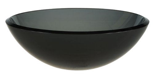 - Ambassador Marine Half Sphere Glass Vessel Smoked Smooth Gray Glass Sink,16 1/2-Inch Diameter x 5 1/2-Inch Deep