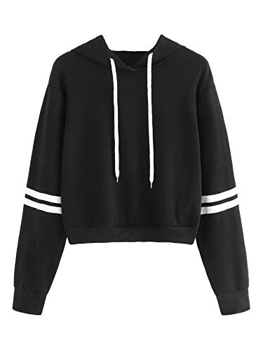 MAKEMECHIC Women's Striped Long Sleeve Pullover Sweatshirt Crop Top Hoodies Black M