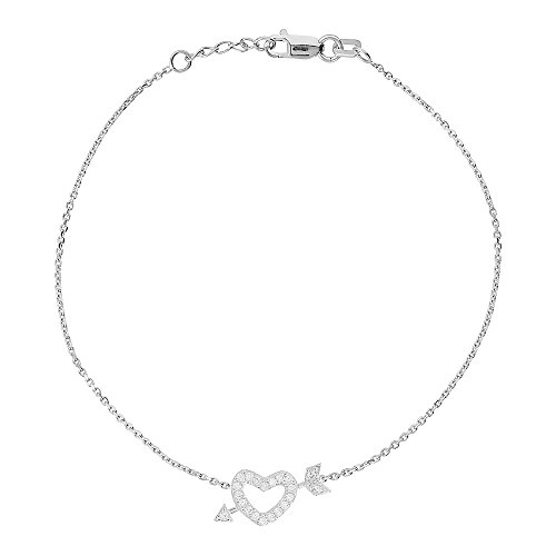 14K White Gold Heart & Arrow Bracelet. Adjustable Diamond Cut Cable Chain 7