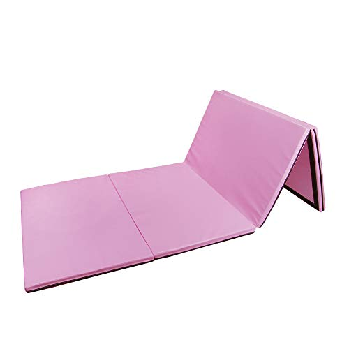 Polar Aurora 4'x10'x2 Multipe Colors Thick Folding Gymnastics Gym Exercise Aerobics Mats Stretching Fitness Yoga (Pink)