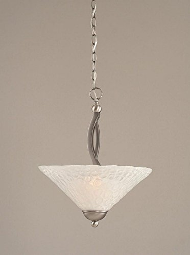 (Toltec Lighting 274-BN-411 Bow Two-Bulb Uplight Pendant Brushed Nickel with Italian Bubble Glass Shade, 16-Inch)