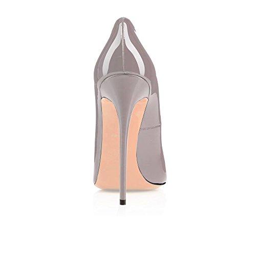 12 de Zapatos Boda Wedding Tacones Altos Clásicas Toe CM Peep ELASHE Gris tacón Pumps d5qW8w5t