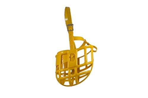 Plastic Basket Muzzle - Birdwell Enterprises - Plastic Dog Muzzle with Adjustable Plastic Coated Nylon Headstall - Made in The USA - (Medium, Gold)