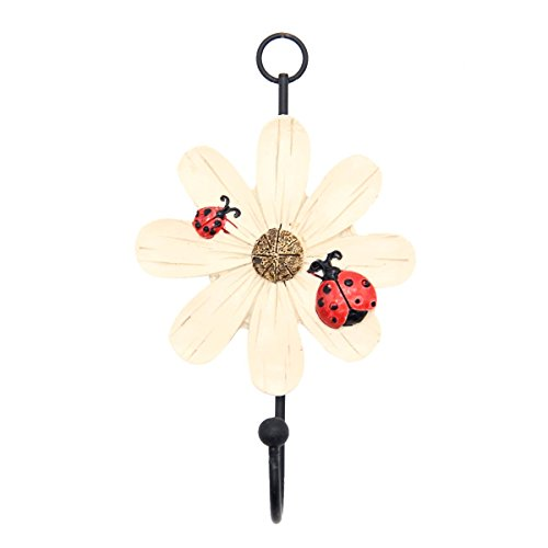 Mochiglory Home Decoration Cute Ladybug and Daisy Flower Resin Wall Hook Utility Wardrobe Hook (Ladybug Resin)